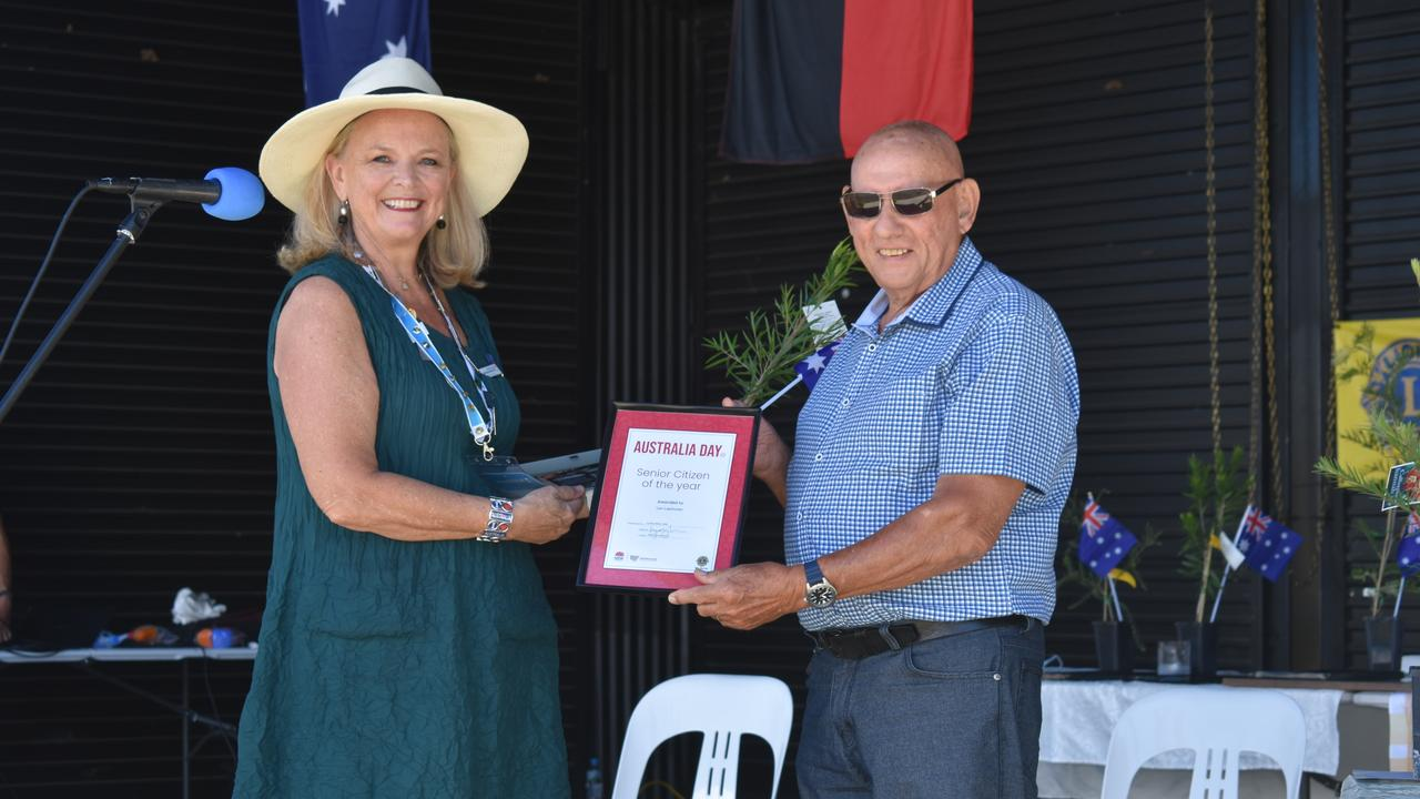 Australia Day ambassador Lyndey Milan presents the Senior Citizen of the Year award to Leo Laarhoven at the 2021 Kyogle Australia Day ceremony.