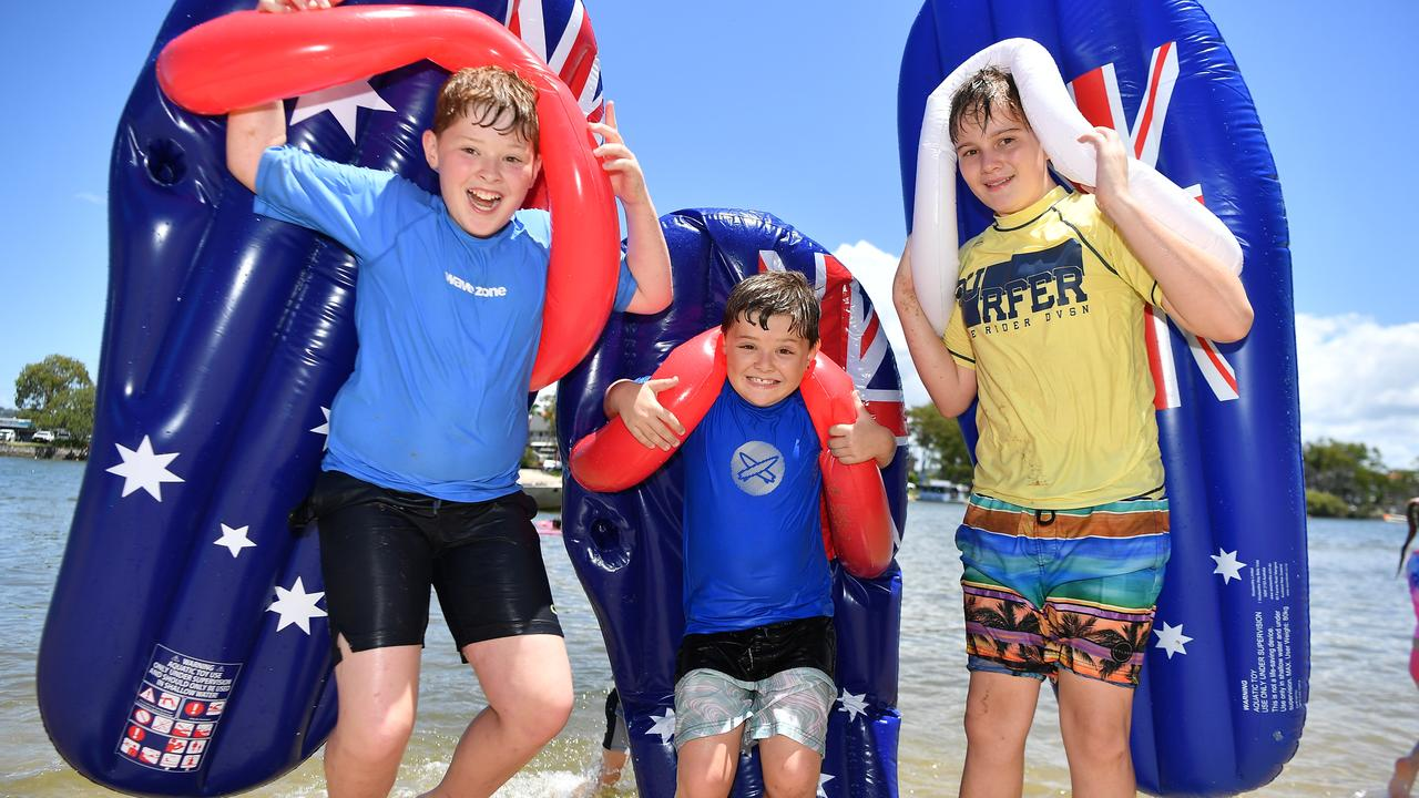 Out and about on Australia Day at Chambers Island are Addison and Rhys Formosa with Ethan Hales. Picture: Patrick Woods