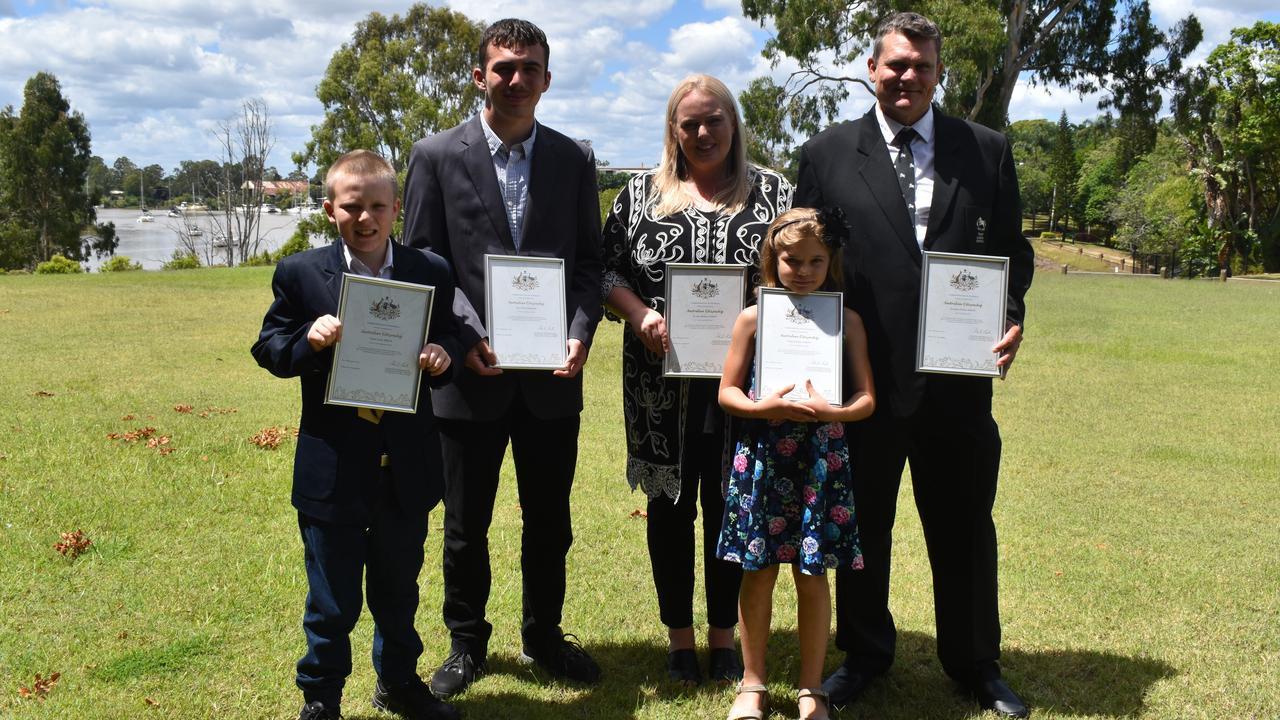 NEW CITIZENS: Lance Dixon, Neo Dixon, Jo-Ann Dixon, Jonathan Dixon and Demi Dixon who are now officially Australian citizens. Photo: Stuart Fast