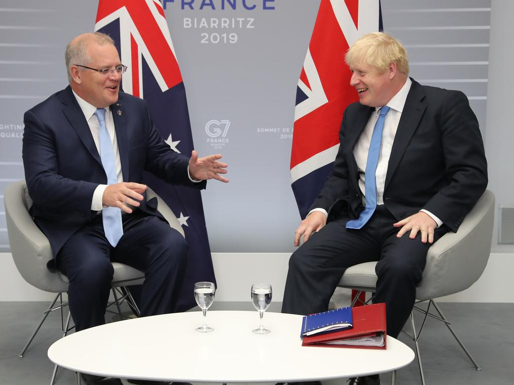 Prime Minister Scott Morrison with UK leader Boris Johnson at the G7 Summit in Biarritz, France in 2019. Picture: Adam Taylor/PMO