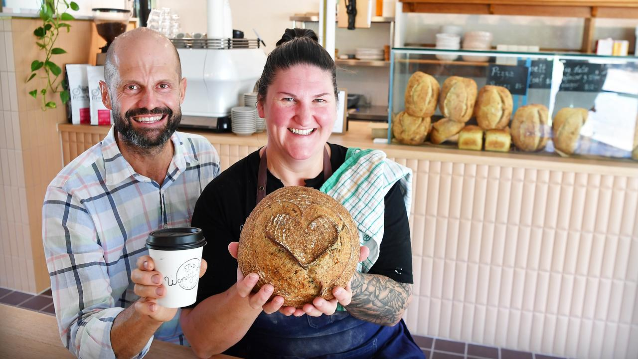 Anthony Uechtritz with Katie Faulkner (pictured) along with their partners Alana and Geremy have opened The Wonky Loaf in Kuluin. Picture: Patrick Woods.