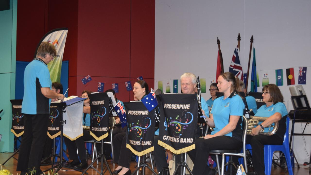 Proserpine Citizens Band entertains the crowd at Whitsunday PCYC before the Australia Day Awards Presentation and Citizenship Ceremony. Picture: Elyse Wurm