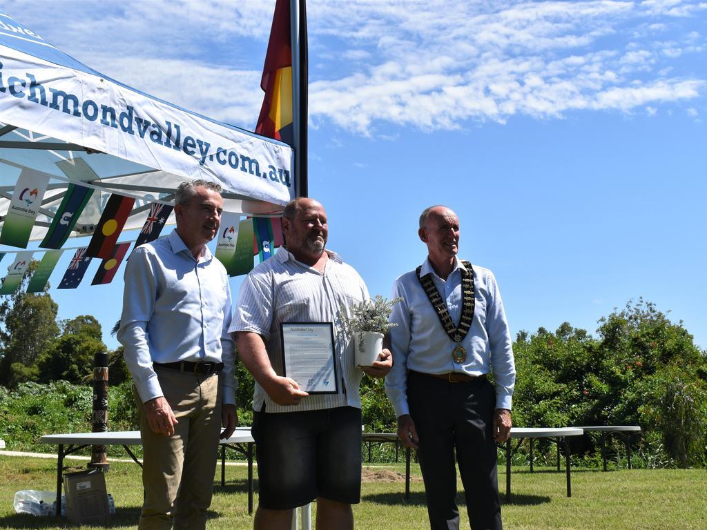 Richmond Valley Council citizen of the year Paul Bengtson receiving his award. (Credit: Adam Daunt)