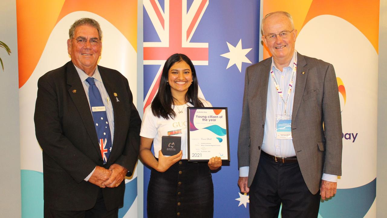 Somerset Mayor Graeme Lehmann and Australia Day Ambassador Robert(Bob Atkinson) congratulate Young Citizen of the Year Vaani Bhatt. Photo: Somerset Regional Council.