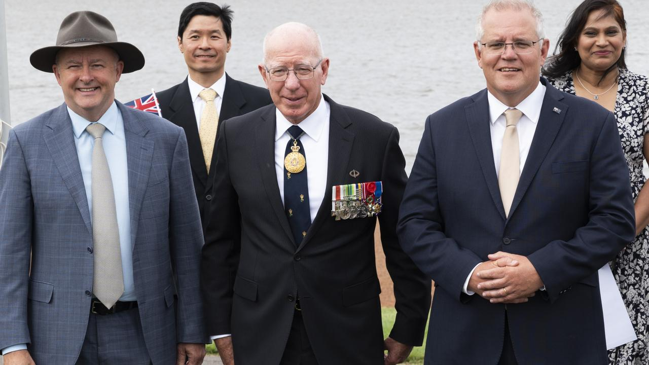 Anthony Albanese, Governor-General of Australia David Hurley and Australian Prime Minister Scott Morrison pictured at The National Australia Day Flag Raising and Citizenship Ceremony. Picture: NCA NewsWire/Martin Ollman