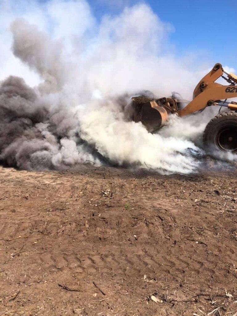 A mulch fire at Burrum Heads.