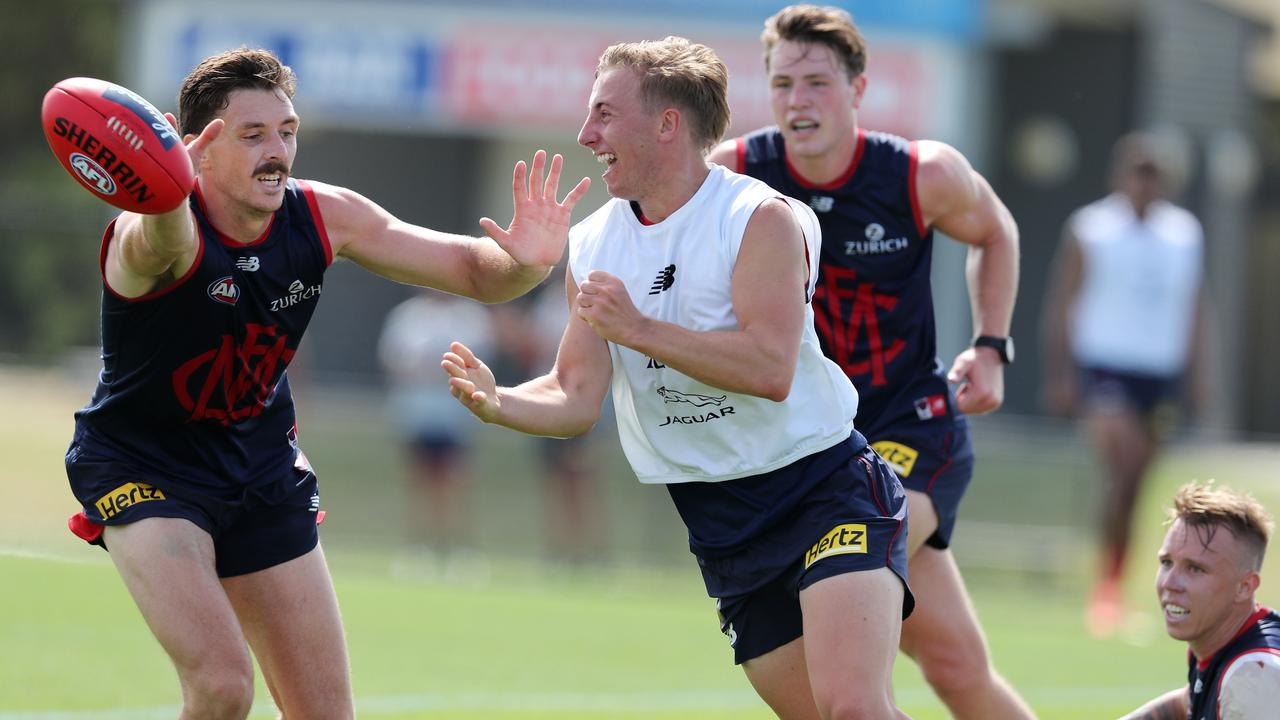 Draftee Bailey Laurie in action at Melbourne training. Picture: Michael Klein