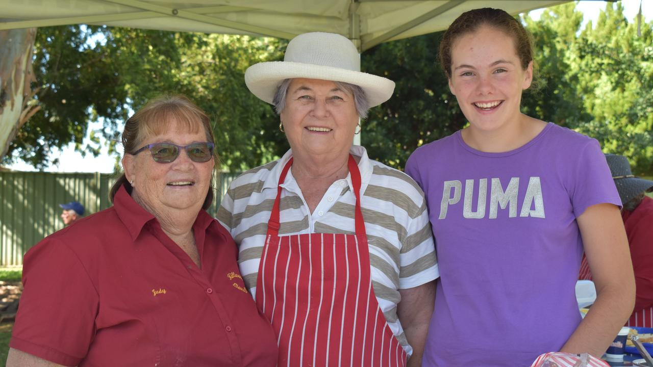SERVING UP: Judith Petersen, Cheryl Wickham, and Melissa Lamb manning the food tent at the 2021 Killarney Lions Club Australia Day Breakfast. Picture: Jessica Paul