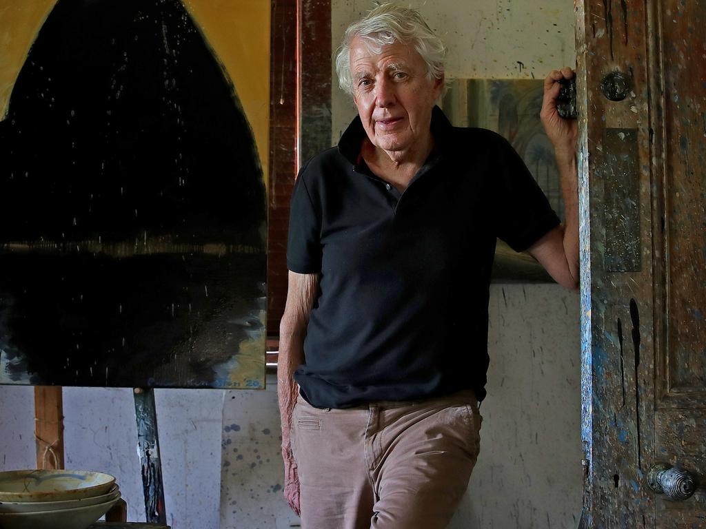 Sydney artist Peter Kingston pictured in his Lavender Bay home. Picture: Toby Zerna