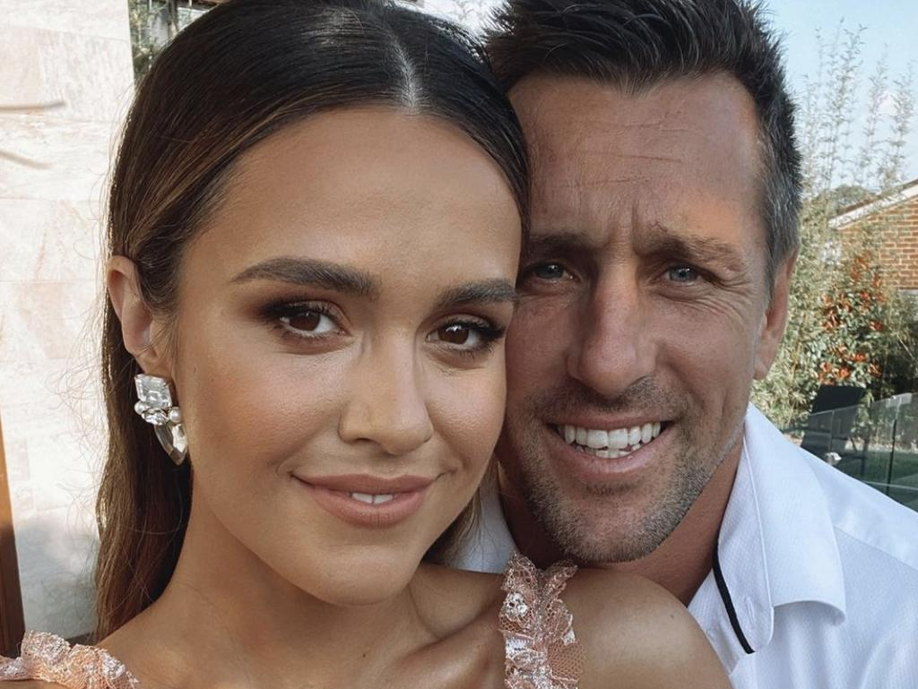 Newcastle Knights halfback Mitchell Pearce and fiancée Kristin Scott. Picture: Instagram