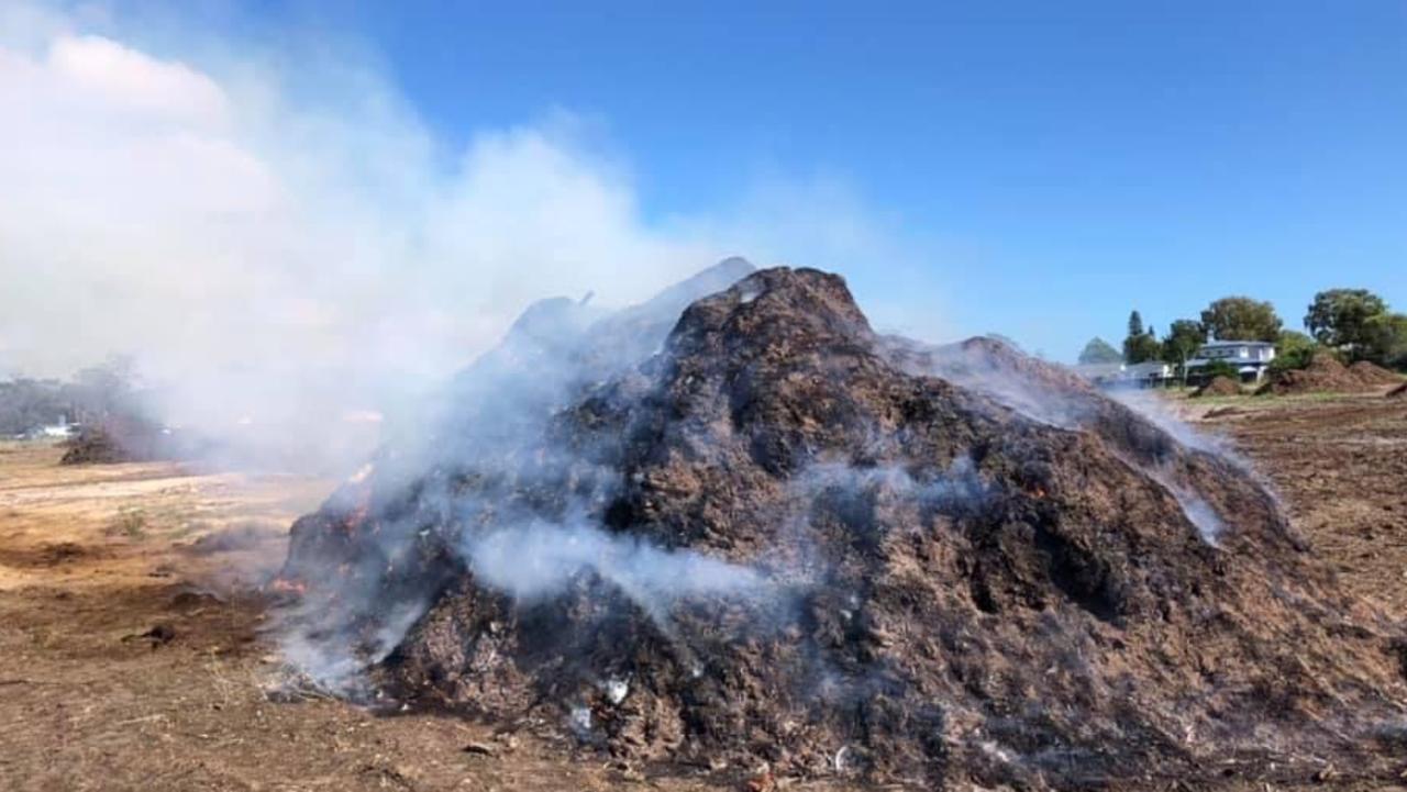 A mulch fire at Burrum Heads. Photo: Contributed.