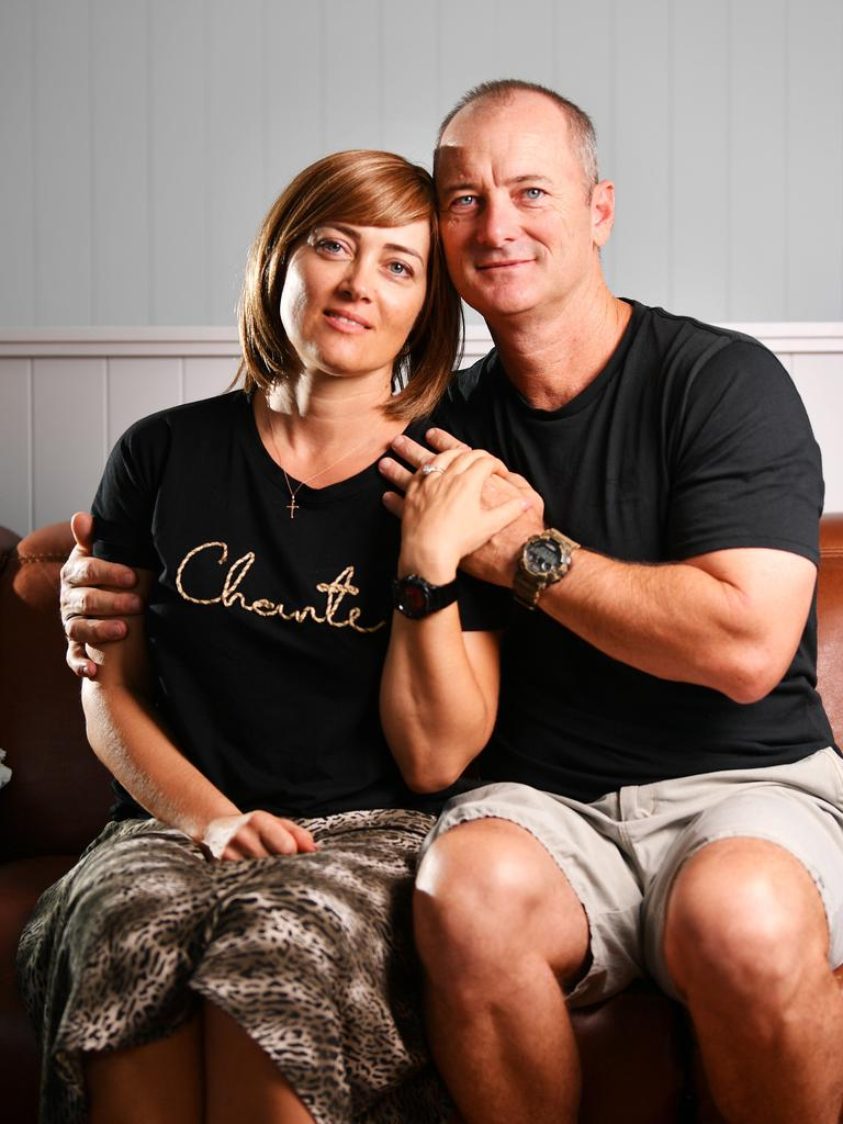 Townsville police officer, Bianca Cortez, is fund raising to receive overseas treatment for her Glioblastoma multiforme. Pictured with husband Tim Nugent. Picture: Alix Sweeney