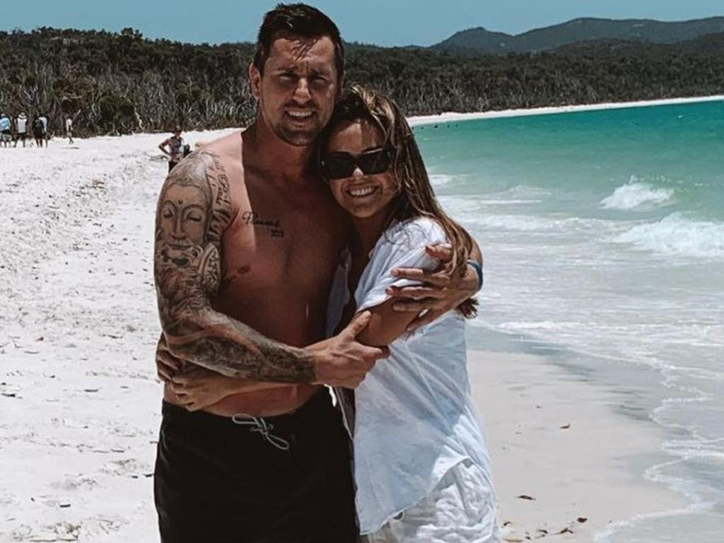 Mitchell Pearce and his fiancee Kristin Scott. Picture: instagram https://www.instagram.com/mitchpearce_7/?hl=en