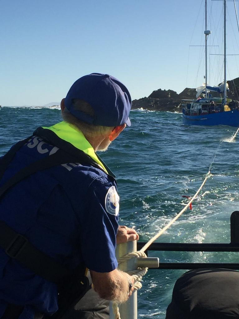 A crew from Marine Rescue Wooli sprung into action to rescue a yacht that was in trouble south of Wooli.