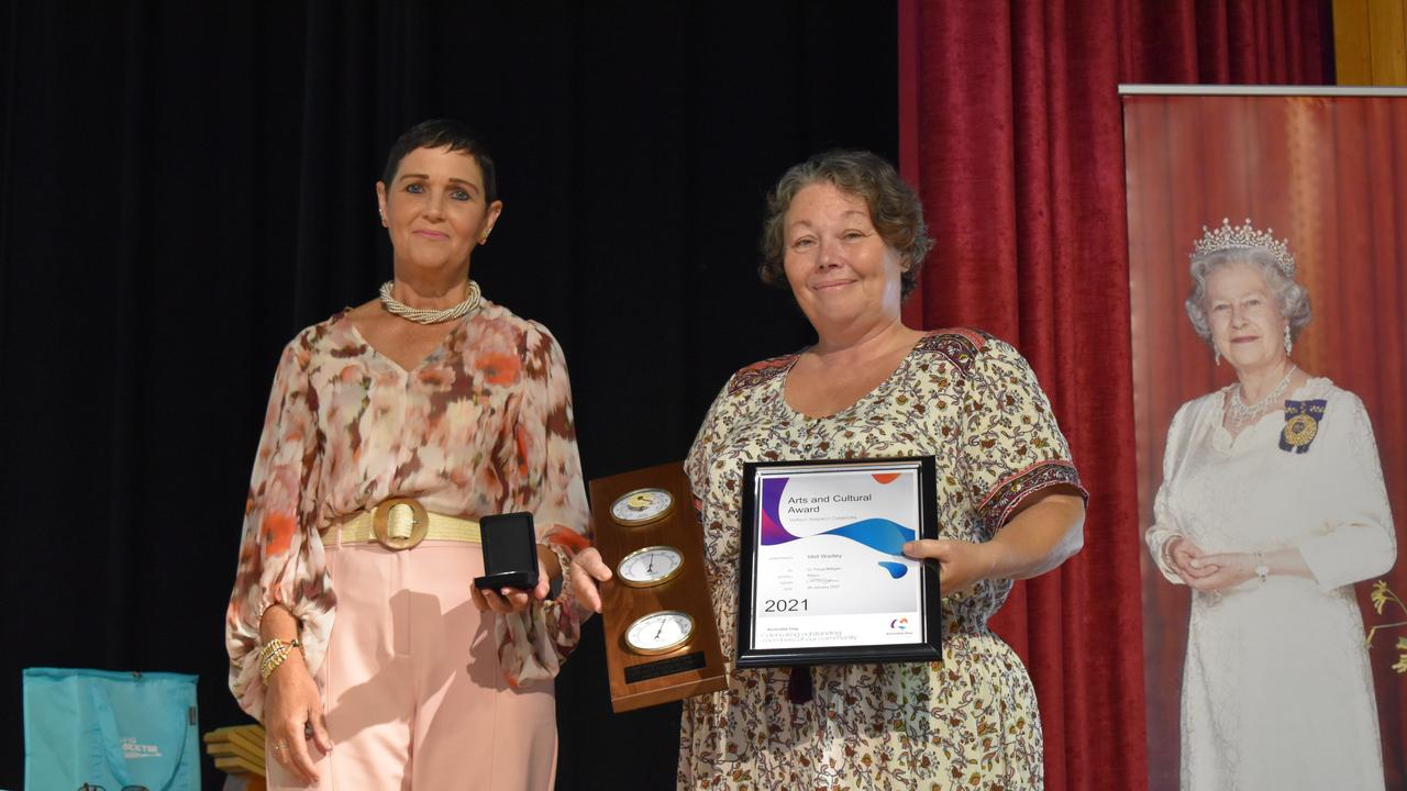 Arts and Cultural Award Recipient Idell Wadley with Lockyer Valley Mayor Tanya Milligan. Photo: Hugh Suffell.