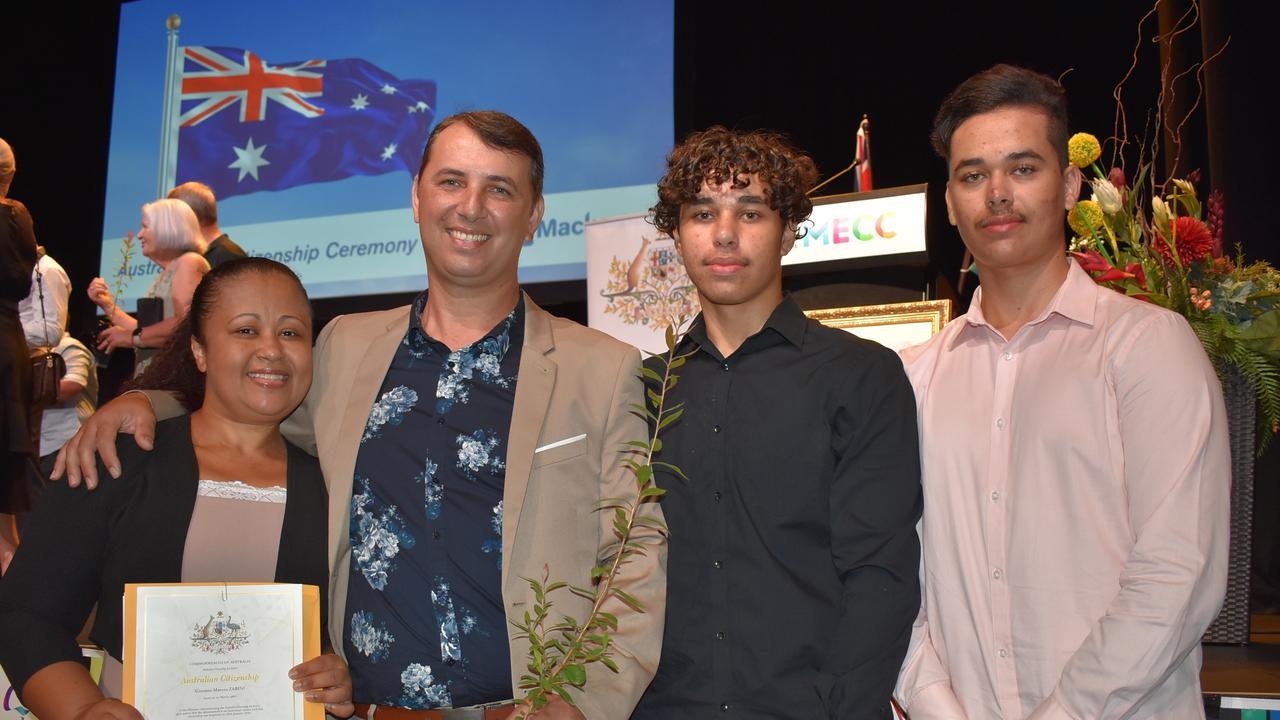 Becoming Australian citizens in Mackay on Australia Day are (from left) Rosangela de Lima Zabini, Giovane Zabini, Kaiky de Lima Zabini and Marlon Zabini. Picture: Tara Miko