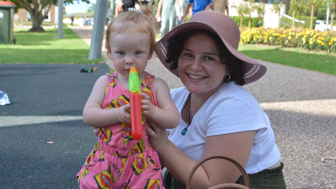 HAPPY VEGEMITE: Little Banksia Dowd with Sheridan Layt at the 2021 Stanthorpe Australia Day festivities.