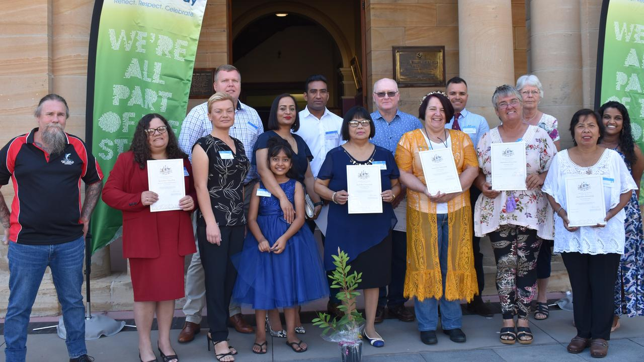 WARM WELCOME: The 15 new Australian citizens sworn in at the 2021 Australia Day ceremony in Warwick. Picture: Jessica Paul