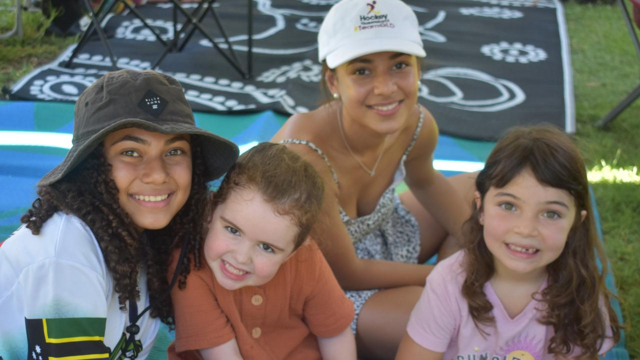AUS DAY BBQ: Keeley Elston, 14, Spencer Millan, 5, Ruby Wyborn, 5, Hayley Elston, 16. Picture: Melanie Whiting