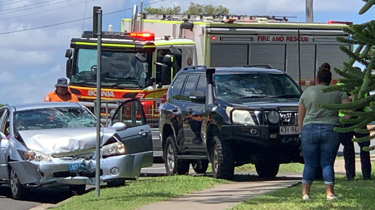 Emergency services are on the scene of a traffic crash at a roundabout in Denham St, Rockhampton. Photo: Jann Houley