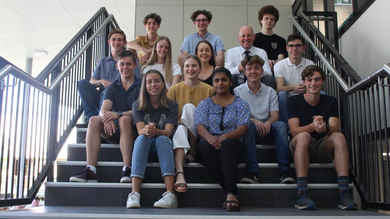 West Moreton Anglican College's 2020 high ATAR achievers with principal Geoff McLay.