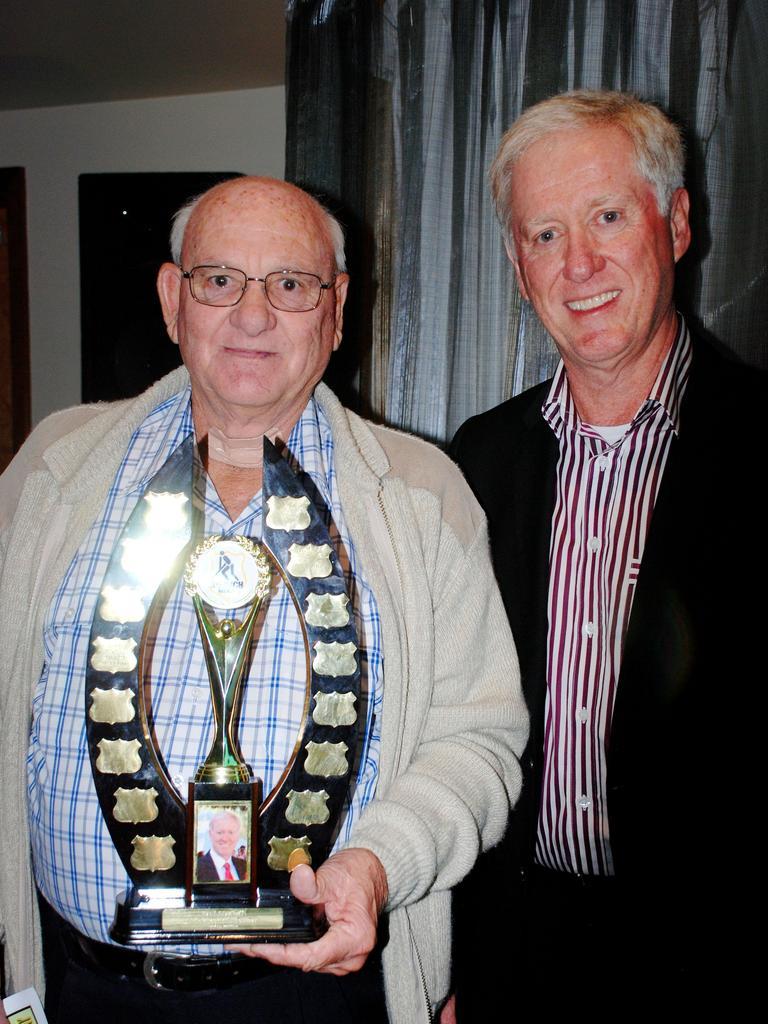 Ipswich Hockey president Robert McLeod (left) with long-serving treasurer Paul Mantell.