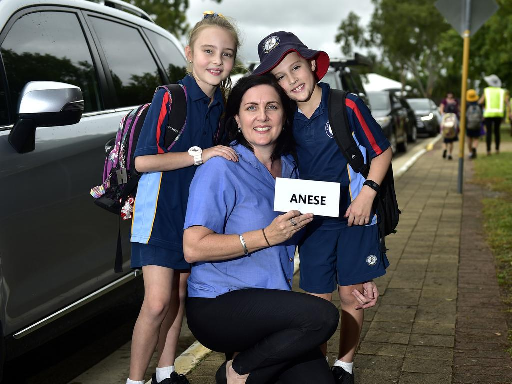 Lisa Anese has been using the new school pick-up and drop off routines at Ryan Catholic College Junior Campus with her daughter Hannah, year 4 and Ethan, year 2. PICTURE: MATT TAYLOR.