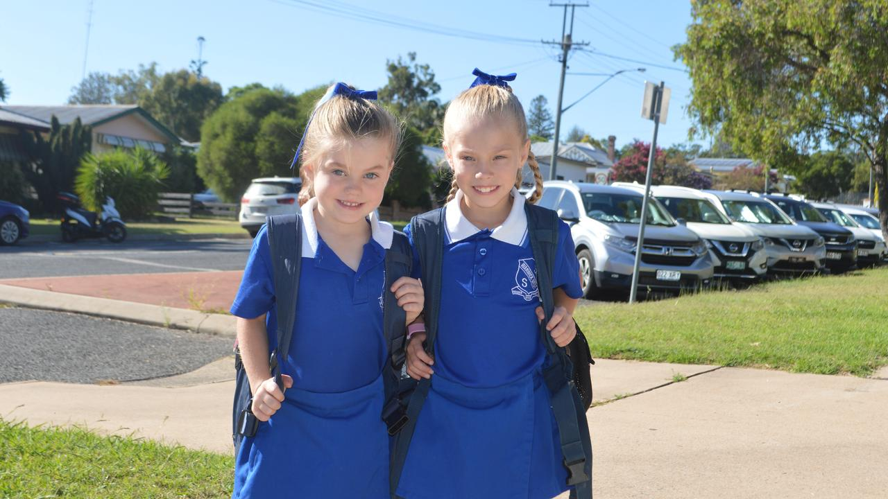 FIRST DAY: Ella Worth (Year 3) and her little sister, Zahlia (Year 1) as they head into a new year at Warwick West. Picture: Tessa Flemming