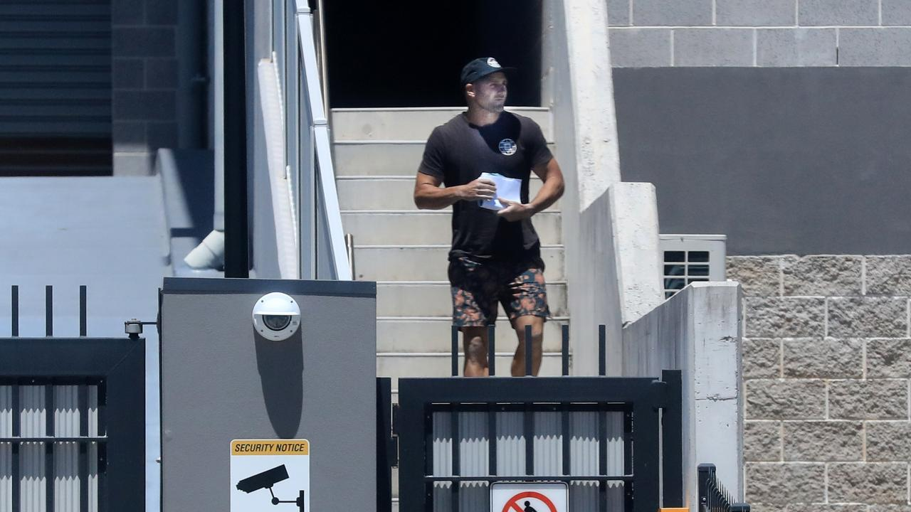 Former Gold Coast Titan and NRL player Michael Gordon is released from Tweed Heads Police Station after being arrested on November 21, 2020 for alleged drug related offences. Picture: Scott Powick.