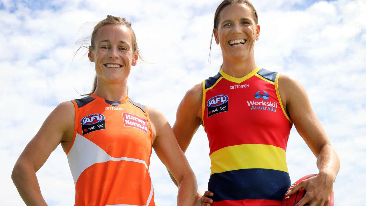 Giants captain Alicia Eva and Crows captain Chelsea Randall. Picture: Dean Martin