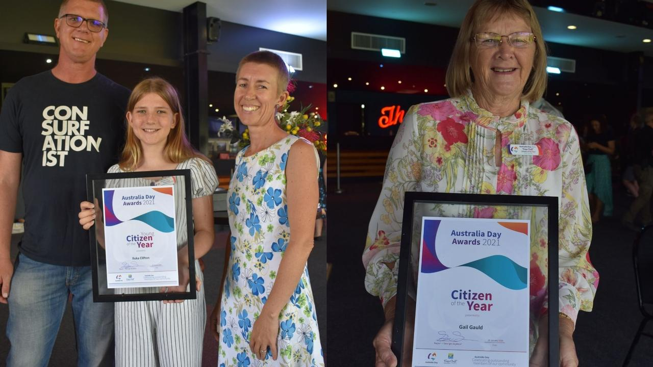 (L) Young Citizen of the Year winner Iluka Clifton, with Daniel Clifton and Bianca Sands. (R) Citizen of the Year winner Gail Gauld.