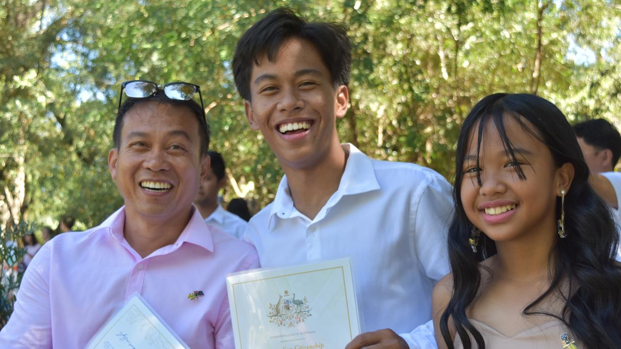 CONGRATS GUYS: Juanito, John and Sarah Custorio received their Australian citizenships on January 26, 2021. Picture: Sam Turner