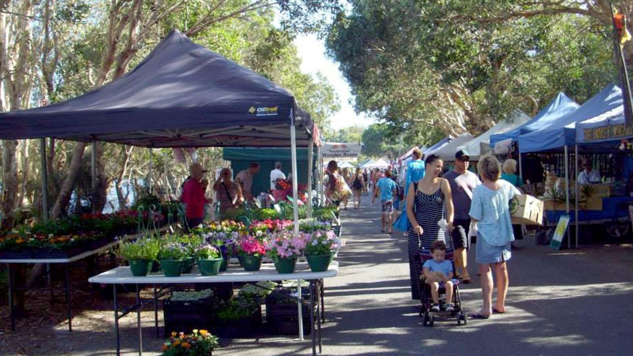 The Lennox Head Community Market at its previous home at Lake Ainsworth in 2013.