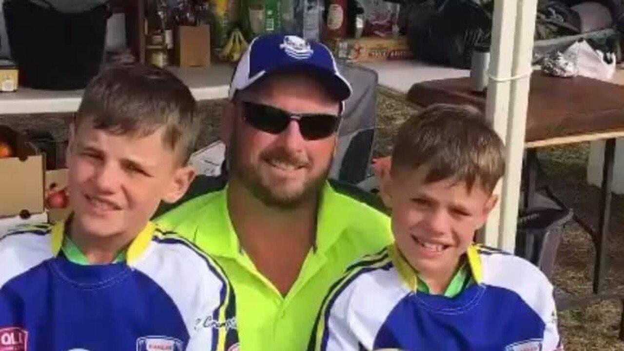 Carl Braithwaite and two of his suns in their South Burnett jerseys. Photo/Social Media