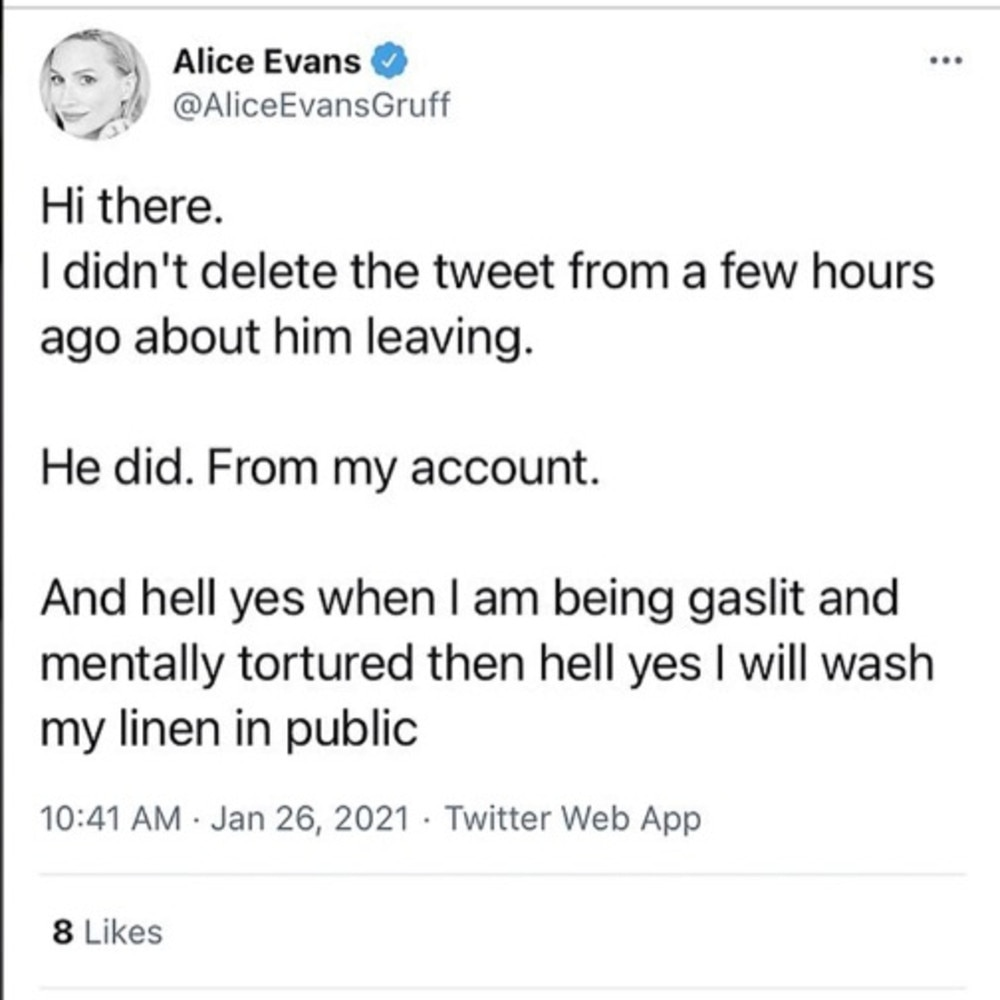 Alice Evans has taken to Twitter to announce her split from Ioan Gruffudd. Picture: Twitter