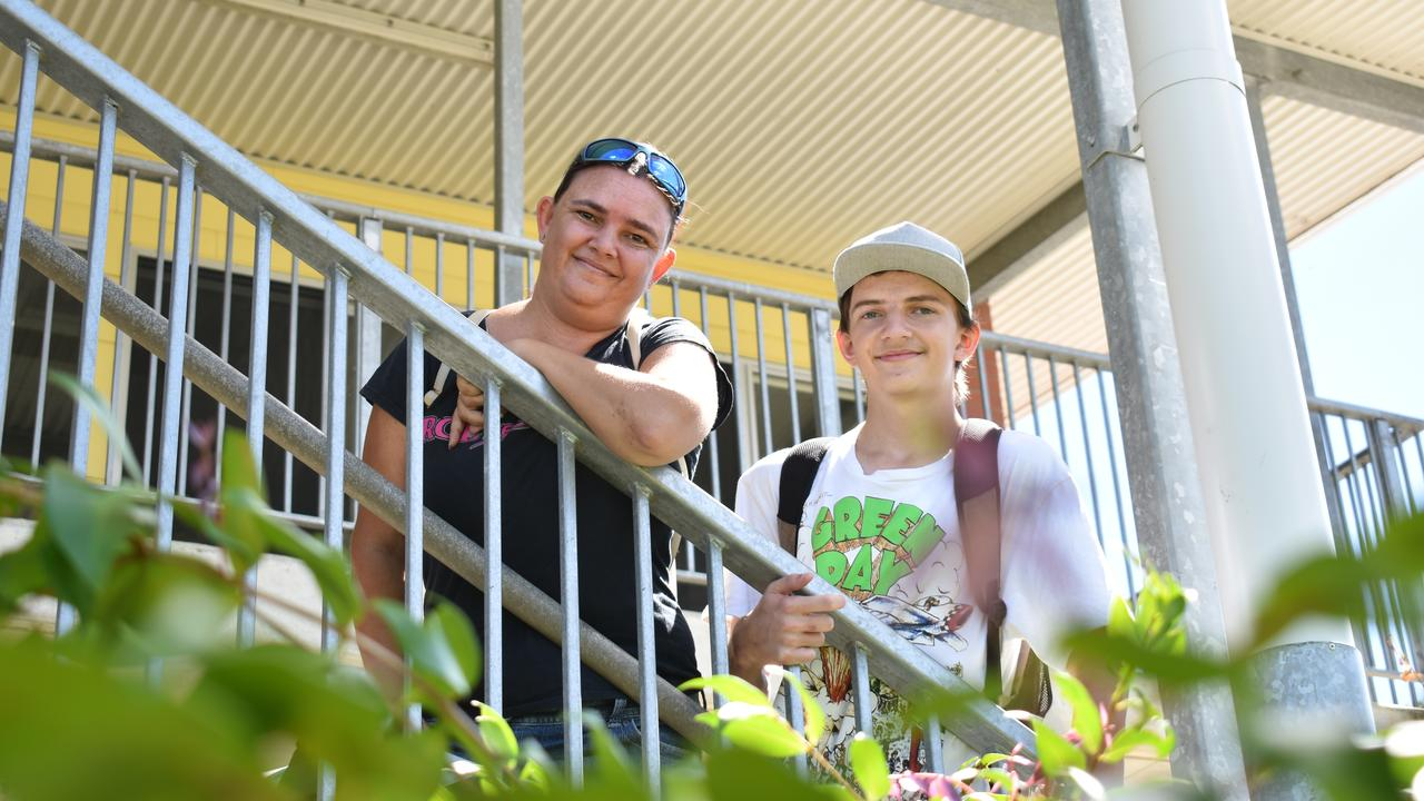Traven, Year 10, with his mum Kerri Morris at the Talking Families launch at Bremer State High School. Photo: Ebony Graveur