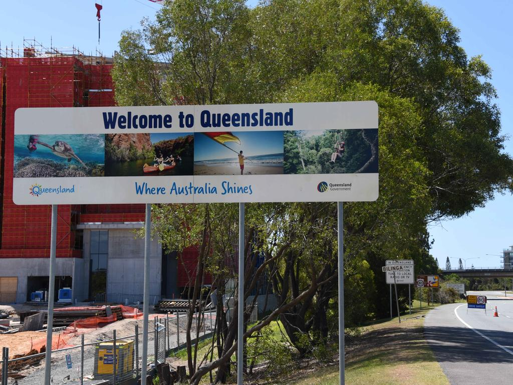 The 'Welcome to Queensland' sign near Gold Coast Airport