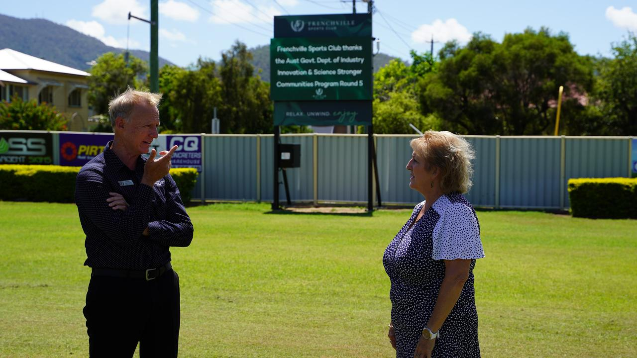 Frenchville Sports Club GM Damien Massingham and Capricornia MP Michelle Landry at the unveiling of the new digital scoreboard, funded by the Stronger Communities Programme.