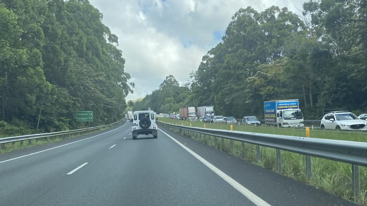Traffic building on the Bruce Highway heading towards the Maroochydore/Nambour exit.