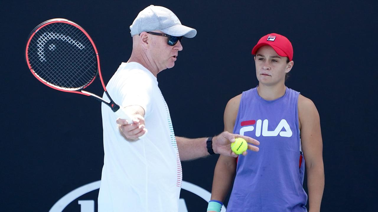 Barty listens to coach Craig Tyzzer during a session last year. Picture: Dave Hunt