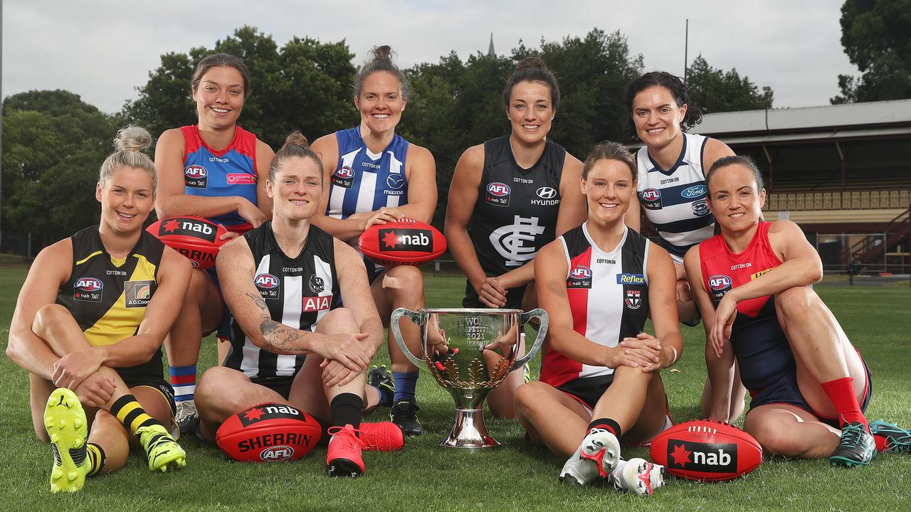 AFLW stars were out to play at the competition's annual captain's day at Brunswick Street Oval. Picture: Michael Klein