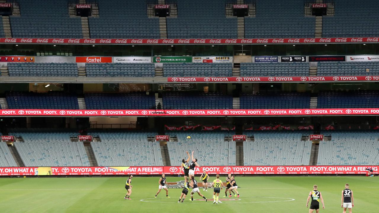 There was no crowd for last year's AFL season-opener between Richmond and Carlton. Picture: Michael Klein