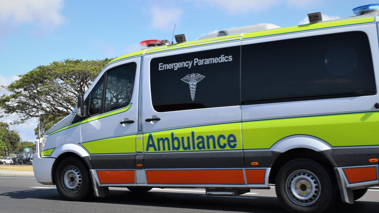 Paramedics have taken a man to hospital following a car and motorcycle crash at Alexandra Headland.