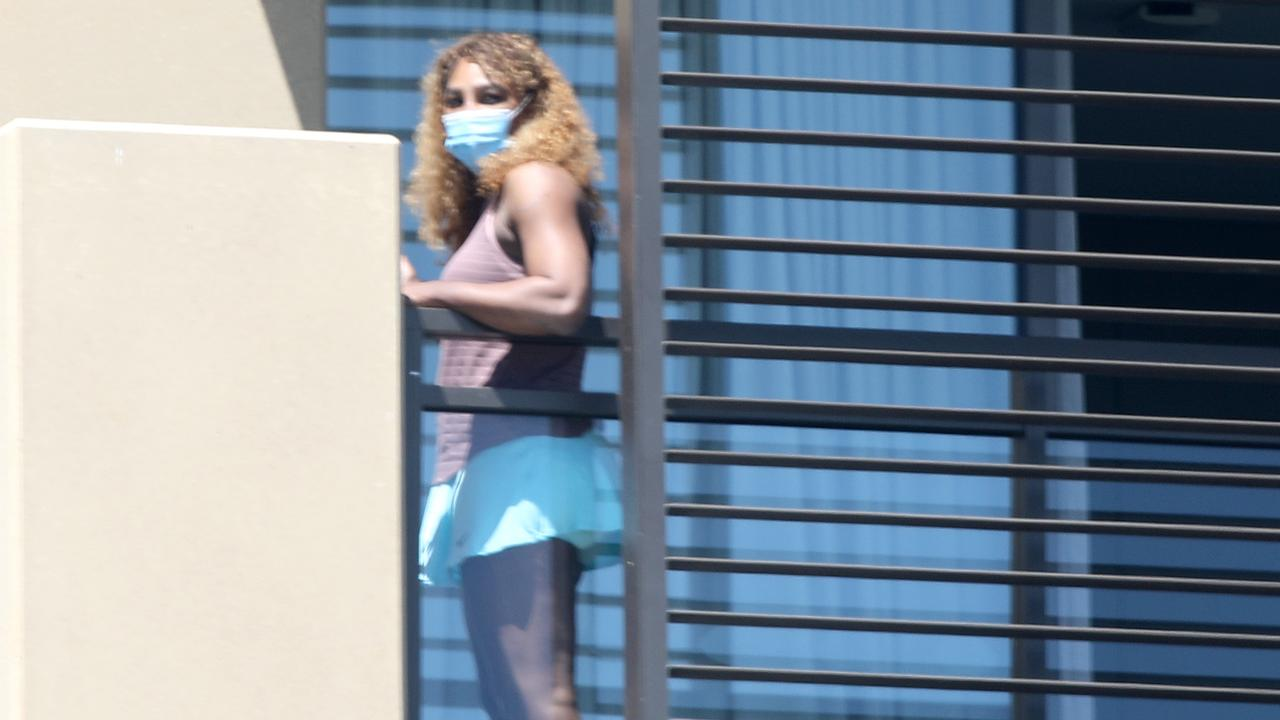 Serena Williams while in quarantine at Majestic Suites in North Adelaide. Picture: NCA NewsWire