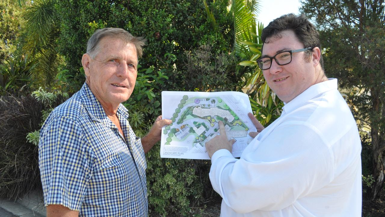 Federal Member for Dawson George Christensen threw his support behind the proposed multimillion dollar new accommodation wing and facility upgrade at Murroona Gardens back in 2015. He's pictured here with board chairman Gary Martin after a development application was submitted to Whitsunday Regional Council. Photo: Nadine O'Neill