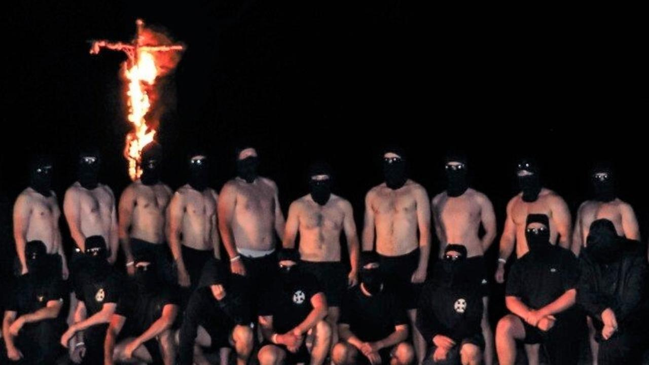 A neo-Nazi group outside the town of Halls Gap on Australia Day weekend 2021.