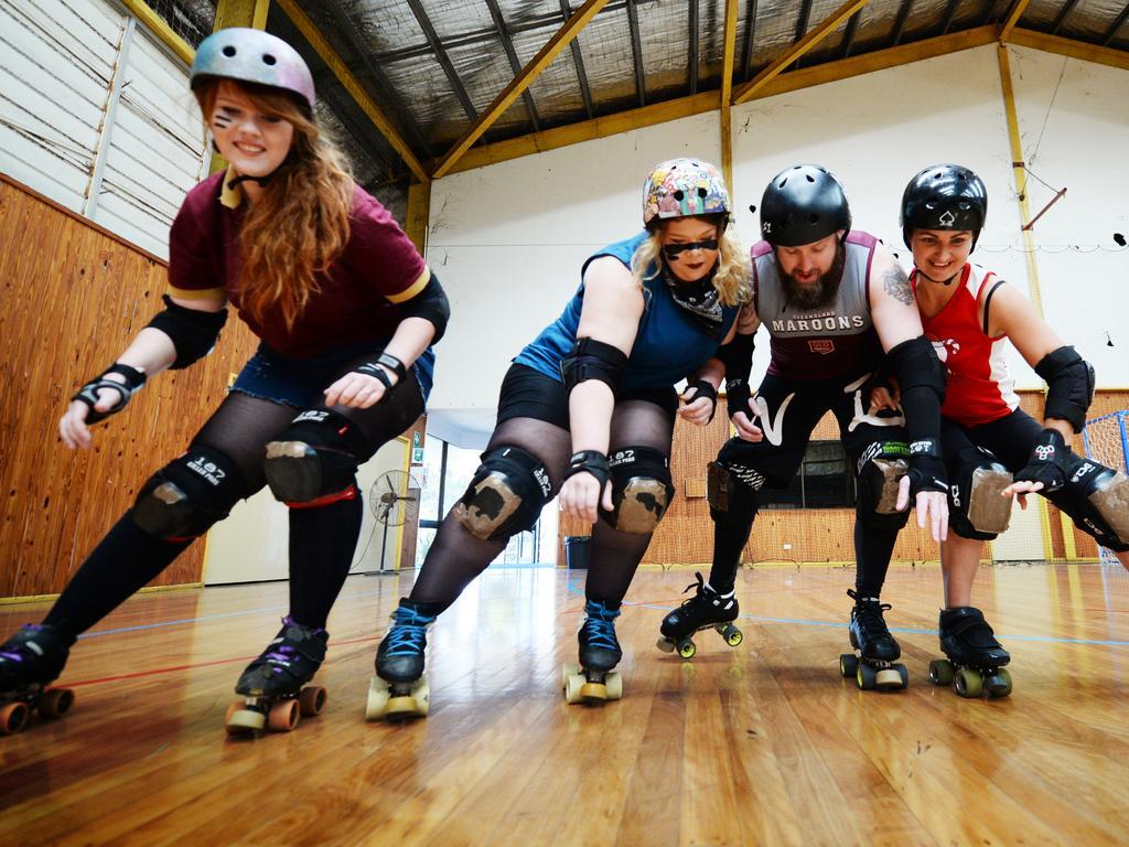 Rocky Roller Derby's Jasmine BoydPratt (Fury Floss), Jacquilyn BoydPratt (Smackilyn), Corey Huxley (Hangman Hux) and Renay Graham (Grenayd) showing us how its done.