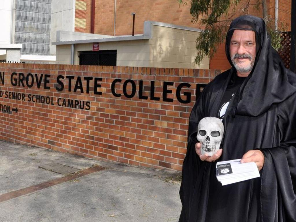 Noosa Temple of Satan founder, Robin Bristow, also known as Brother Samael Demo-Gorgon, outside Kelvin Grove State College last year