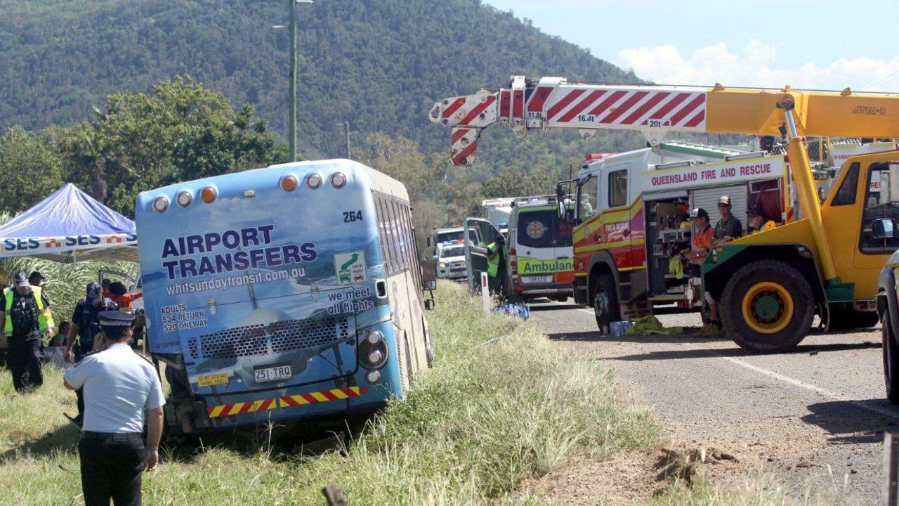 Whitsunday Transit fatal bus rollover near Brandy Creek outside Airlie Beach. Bus runs from Airlie Beach to Proserpine several times per day. Pic Bob Fenney.