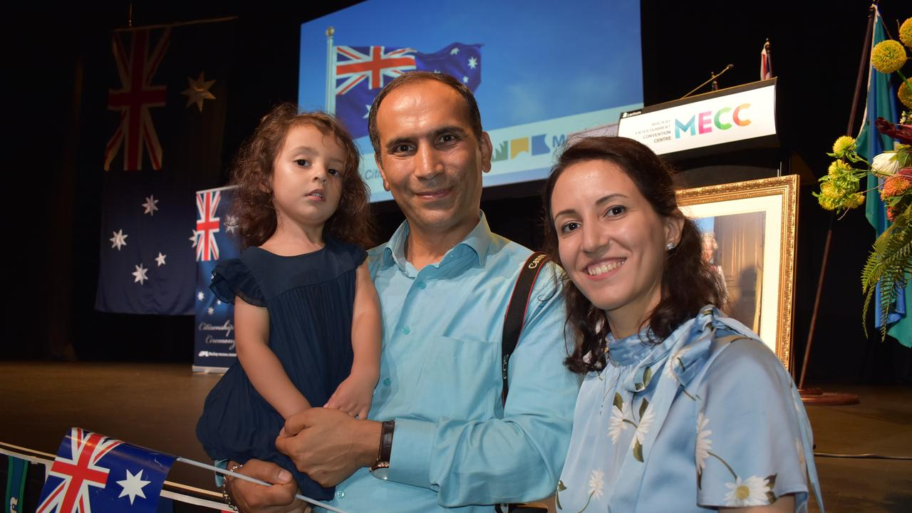 WELCOME: Neeka Asgaripour, 2, with dad Dr Kamran Asgaripour and Dr Farima Abedi at the Citizenship Ceremony on Australia Day conducted by Mackay Regional Council. Picture: Tara Miko